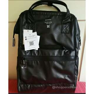 PVC Authentic Anello Leather Backpack/ Black.