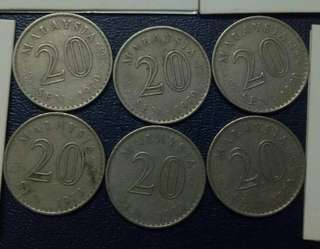 Lot of 6pcs 20cent 1970.