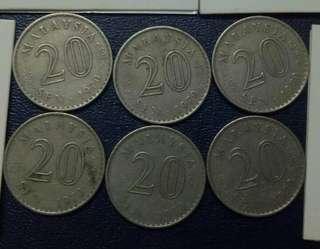 Lot of 6pcs 20cent 1970.