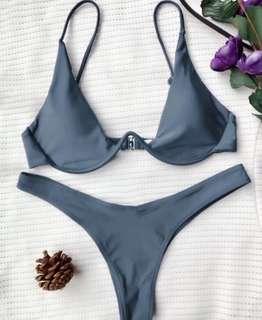 Gray Push Up Plunge Bikini Size Small