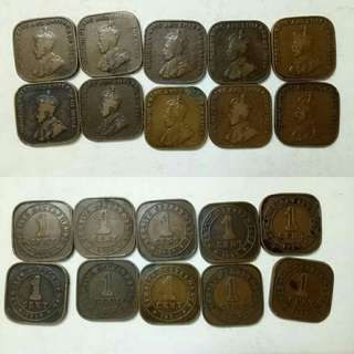 Lot Of Straits Settlements 1cent.