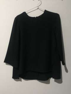 Topshop Black 3/4 sleeve blouse