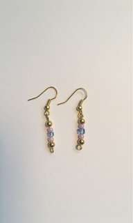 Gold thin beaded earrings