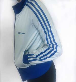 Adidas blue bomber activewear jacket stripes