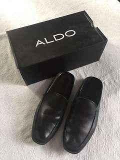 Aldo black leather Laid Back Loafers/ Slide Alan style