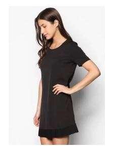 Shift dress with pleats