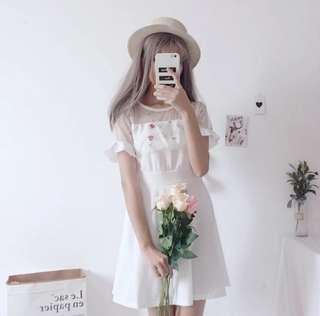 •INSTOCK• White shoulder mesh flora dress