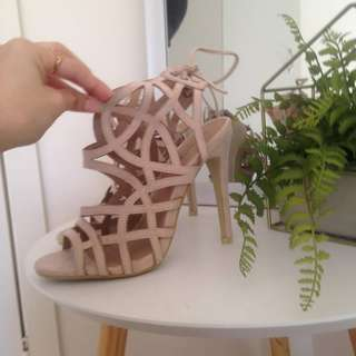 PrettyLittleThing Nude Strappy Heels