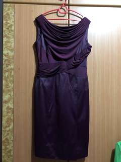 Maroon XL Sexy Low V Back Dinner Dress