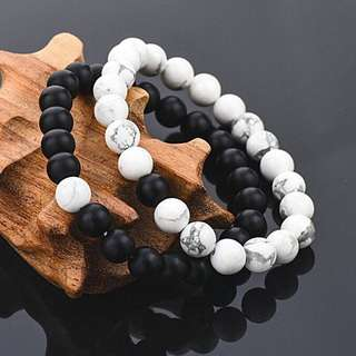 2x Couples His & Hers Distance Bracelet Lava Bead Matching YinYang