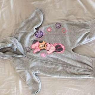 Disney Minnie Mouse Fleece coverall sleeper gray pink 9 months
