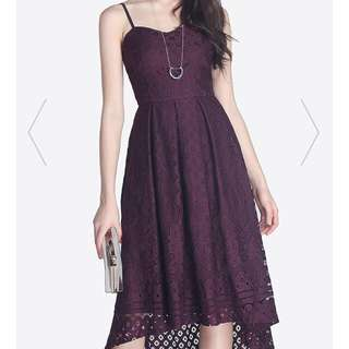 Fayth Stardust Lace Dress - Deep Purple (M)