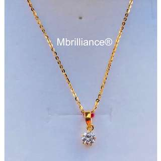 Solitaire CZ STONE pendant & slim polo chain necklace set , 916 Gold by mbrilliance