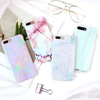 (PO) Pastel Marble Glossy Surface Soft Shell iPhone Casing