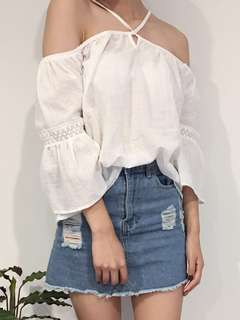 Off the shoulder Lace top - White