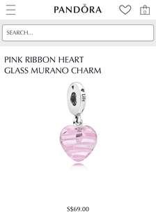 Authentic Pandora Pink Ribbon Heart Charm PO