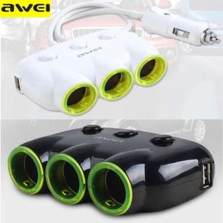 Awei C-3S 3 Socket Adapter with 2 USB Interfaced Car Charger