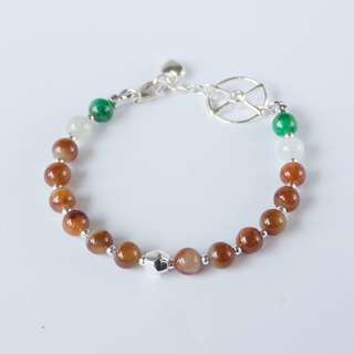 Yellow green and clear Jadeite bead silver bracelet