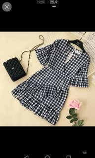 Inc pos checkered gingham dress