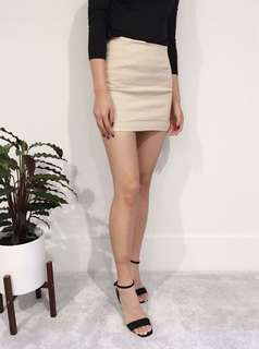 Mini Pencil Skirt  - beige
