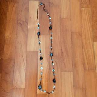 Beads and crystals long necklace