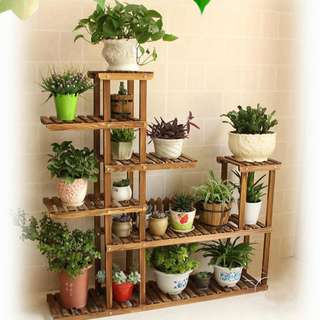 5 Tier Carbonized Wooden Plant Stand