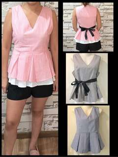 [In stock] Premium checkered ladies blouse with black ribbon