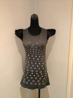 Fur-sleeved mini dress