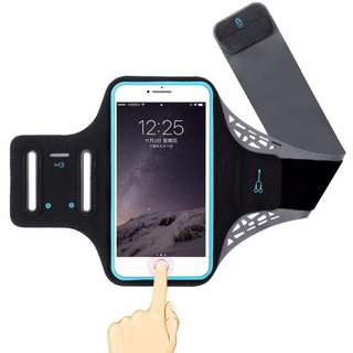 Armband Fingerprint Touch ★ Fits Most Cell Phones / Great for Running Gym Jogging Exercise Workout Sports / Arm Pouch with Unique Hidden Pocket Holder for Cash Card and Key / Water Resistant Pack Phone Bag Adjustable Reflective Velcro Band