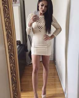 Beige Long Sleeve Bandage Dress