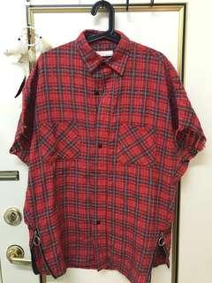 紅色格紋 寬鬆 長版 夏天 襯衫 小賈斯丁著用款