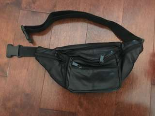 Leather black fanny pack