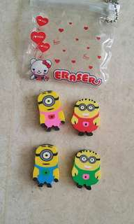 Minion eraser set of 4