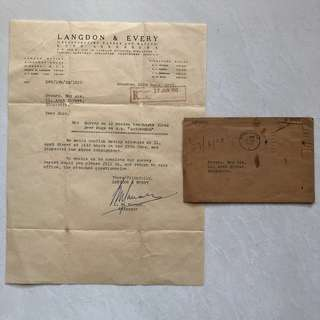 Old Vintage Document - Letter of Inspection related to Teachests Glass Beer Mugs Dated 27th Jun 1953 with Envelope (without stamp)