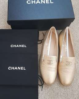 NEW Chanel Loafer Gold