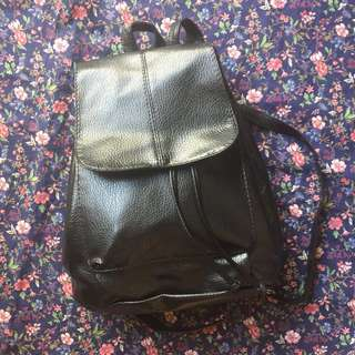 Black Leather Type Back Pack
