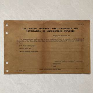 Vintage Old Document - Singapore 1953 UNUSED CPF Central Provident Fund Ordinance Notification of Unregistered Employee (Rare)