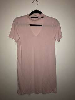 GARAGE Light pink choker tshirt dress (Size XS)