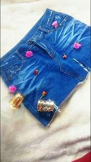 Denim Tattered Skirt