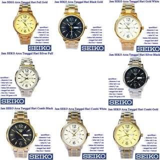 jam tangan Stainless SEKO Arca Tanggal Hari