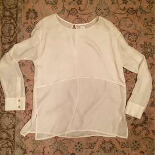 Club Monaco White Sheer Silk Blouse