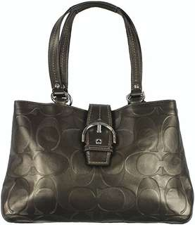 Coach SOHO textured embossed leather bronze carryall handbag F19448