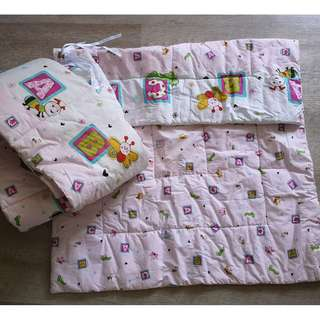 Quilt/Comforter and Crib Bumper (Full Length) Cheeky Bonbon Baby Girl Pink Bedding