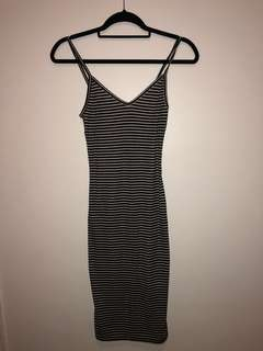 F21 Ribbed striped midi dress (Size XS)