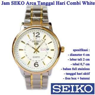 jam tangan Stainless SEKO Arca Tanggal Hari Kombi White