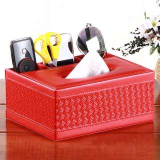 PO Woven Faux Leather Tissue Box with Remote Control Holder