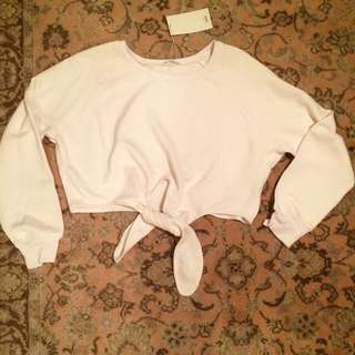Zara sport crop top tie lightes pink/white