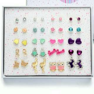 Gift set * cute and colorful 30 and 20 pairs earrings ear studs