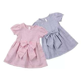 Dress terusan bayi/baby garis pink / biru muda pita