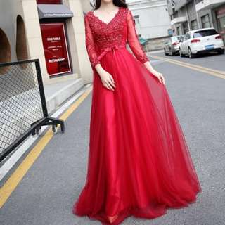 Red long sleeve sequin dress / evening gown / Wedding Gown